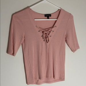 Ardene Tie Front Ribbed Shirt